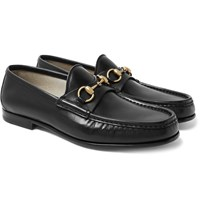 Gucci Roos Horsebit Leather Loafers Black
