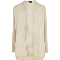 River Island Mensstone Ribbed Knit Hooded Cardigan