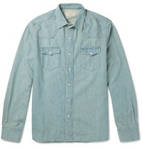 Maison Kitsune Aison Sli Fit Deni Shirt Light Deni Light Denim