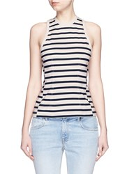 Alexander Wang Stripe Cotton Jersey Racerback Tank Top Multi Colour