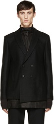 D.Gnak By Kang.D Black Double Breasted Wool Blazer
