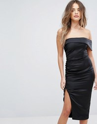 Lavish Alice Satin Ruched Bandeau Midi Dress Black