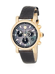 Versace Day Glam Goldtone Stainless Steel Black Mother Of Pearl And Embossed Leather Chronograph Watch