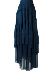Chloe Pleated Tiered Skirt Blue