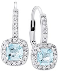 Victoria Townsend Blue Topaz 1 1 5 Ct. T.W. And Diamond Accent Drop Earrings In Sterling Silver