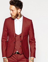 Noose And Monkey Suit Jacket With Shawl Lapel In Skinny Fit Red