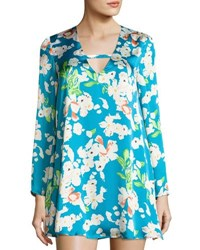 Lucca Couture Priscilla Floral Print Shift Dress Teal