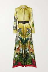 F.R.S For Restless Sleepers Elpis Belted Printed Hammered Silk Satin Maxi Dress Yellow