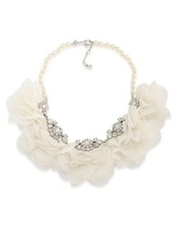 Carolee Icing On The Cake Faux Pearl And Cubic Zirconia Floral Necklace White