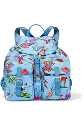 Prada Printed Textured Leather Trimmed Canvas Backpack Blue
