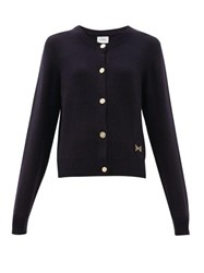 Barrie Logo Plaque Cashmere Cardigan Dark Navy