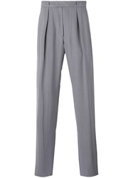 Giorgio Armani Pleated Loose Fit Tailored Trousers Men Cotton Cupro 50 Grey