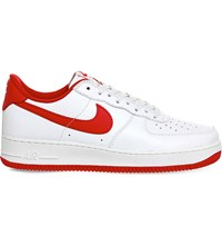 Nike Air Force 1 Low Top Retro Leather Trainers Summit White Red