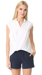 Jenny Park Arie Draped Front Sleeveless Top White