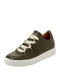 Ermenegildo Zegna Tiziano Men's Leather Low Top Sneaker Green
