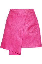Maiyet Wrap Effect Cotton And Silk Blend Mini Skirt Fuchsia