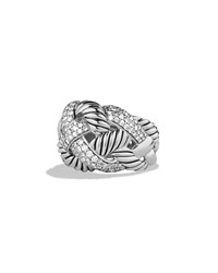 Woven Cable Wide Ring With Diamonds David Yurman Silver