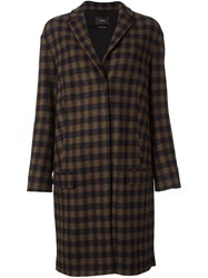 Odeeh Checked Knee Length Coat Blue