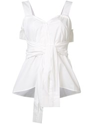 Derek Lam 10 Crosby Front Knot Top White