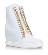 Casadei Chain Trimmed Wedge Sneakers Female White