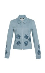 Holly Fulton Floral Denim Jacket Blue