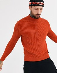 Only And Sons Chunky Cable High Neck Jumper In Orange