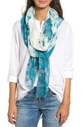 Nordstrom Women's Jungle Blossoms Scarf Teal Combo
