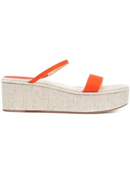 Rosie Assoulin X Paul Andrew Strappy Platform Sandals Yellow And Orange