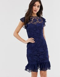 Paper Dolls Capped Sleeve Lace Midi Dress Navy