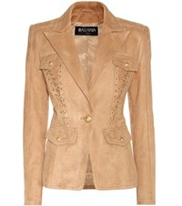 Balmain Embellished Suede Blazer Brown