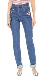 Marc Jacobs High Rise Jeans With Embroidery Bright Blue