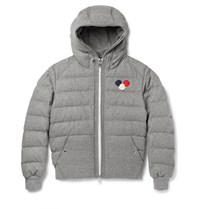 Moncler Asperge Quilted Wool Blend Hooded Down Jacket Gray