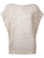 Fay Open Knit Cap Sleeve Top Nude Neutrals
