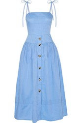 Rejina Pyo Issy Cotton Chambray Midi Dress Light Blue