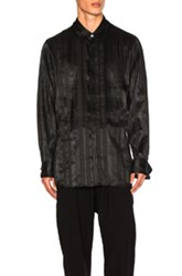 Ann Demeulemeester Tie Back Shirt In Black Stripes Black Stripes