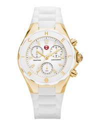 Michele Tahitian Large Jelly Bean Chronograph White Golden