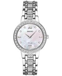 Seiko Women's Solar Dress Swarovski Crystal Stainless Steel Bracelet Watch 28Mm Sup359 Silver