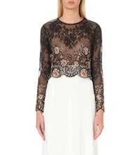 Alessandra Rich Embellished Lace Top Black