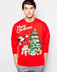 Asos Oversized Christmas Sweatshirt With Mickey Mouse Print Red