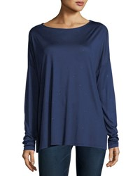 Majestic Paris For Neiman Marcus Crystal Trimmed Long Sleeve Boatneck T Shirt Encre