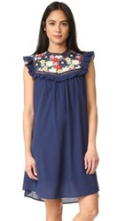 Sea 3D Lace Sleevelesss Tunic Dress Navy Multi