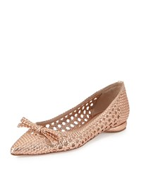 Delman Shana Woven Leather Flat Rose Gold