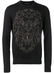 Billionaire Embroidered Lion Jumper Black