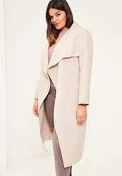 Missguided Plus Size Camel Oversized Waterfall Duster Coat