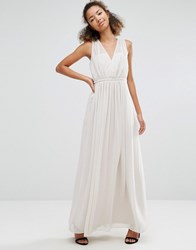 Vila Pleated V Neck Maxi Dress Cream