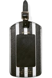 Smythson Panama Striped Textured Leather Luggage Tag Black