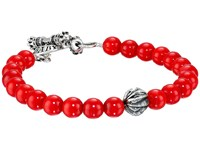 King Baby Studio 8Mm Red Coral Bracelet With Silver Feather Bead Red Silver Bracelet Multi