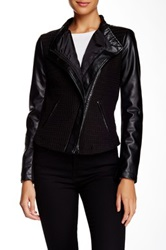 Blanc Noir Textured Front Pleather Sleeve Jacket Black