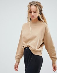Weekday Huge Cropped Sweatshirt In Stone Beige