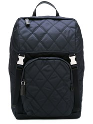 Prada Quilted Backpack Men Calf Leather Polyamide One Size Blue